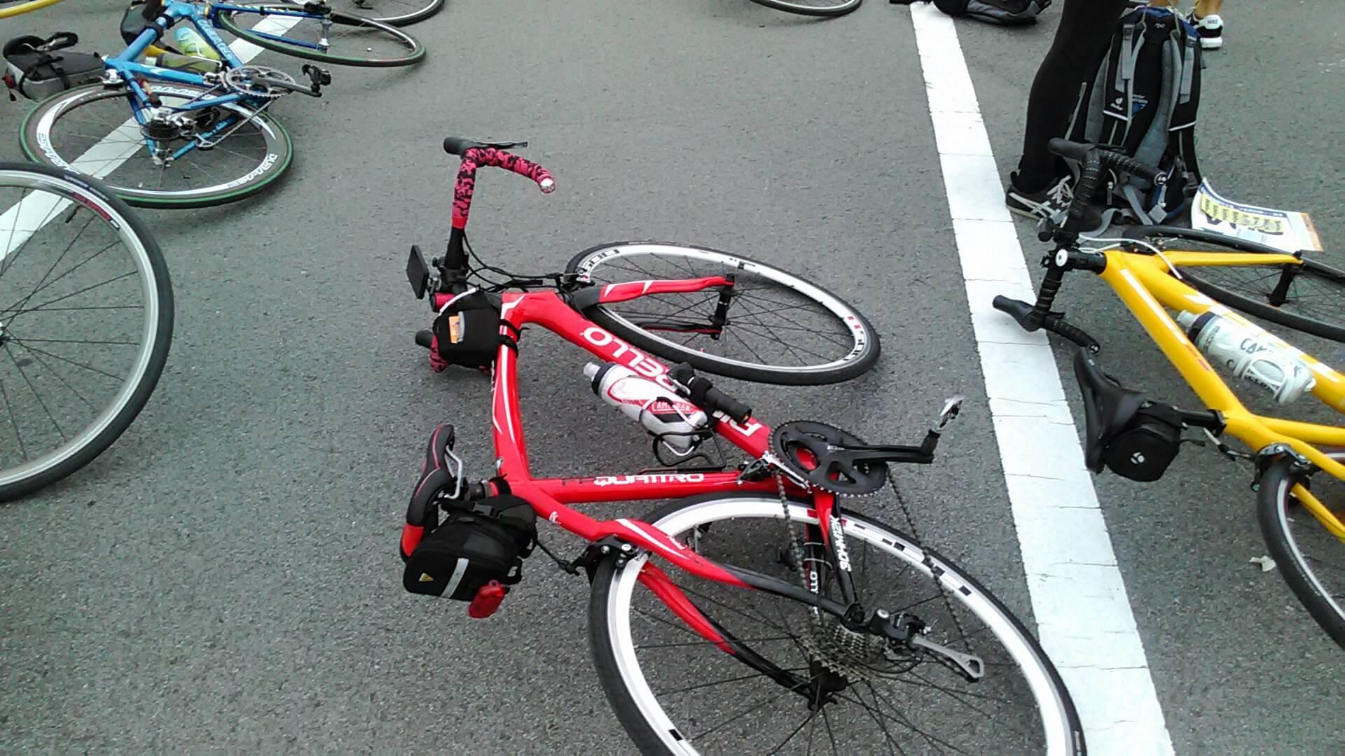走る順に自転車を並べる。 ちなみにフレームをこの夏に交換した。